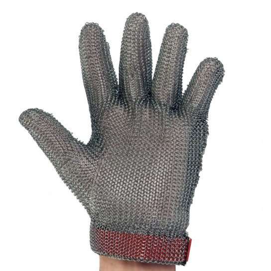 Metal Mesh Glove with Wrist Length Cuff and Replaceable Strap
