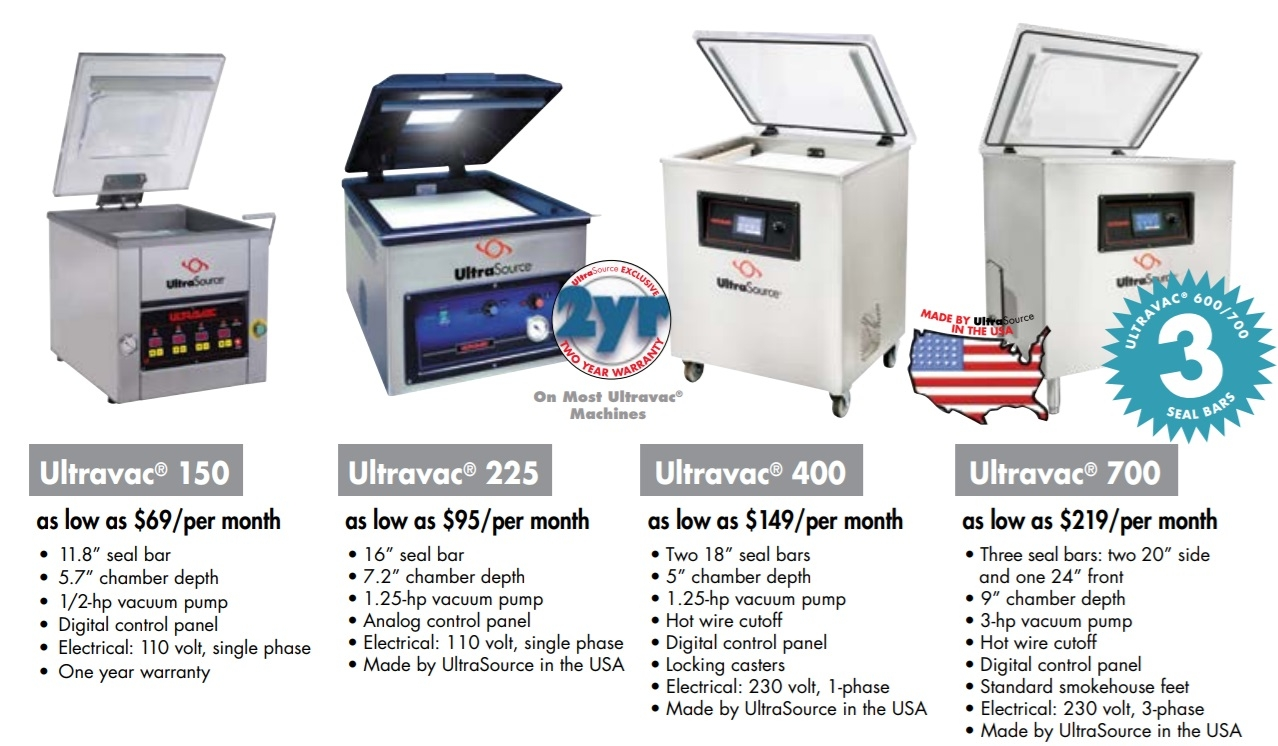 UltraSource Ultravac Tabletop and Single Chamber Vacuum Packing Machines