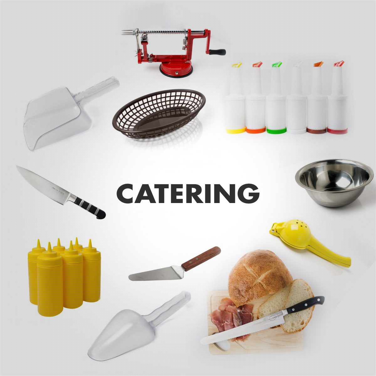 Catering/Retail Supplies - Chef's Knives, Pour Bottles, Service Trays, Pie Servers, Scoops, Citrus Squeezers