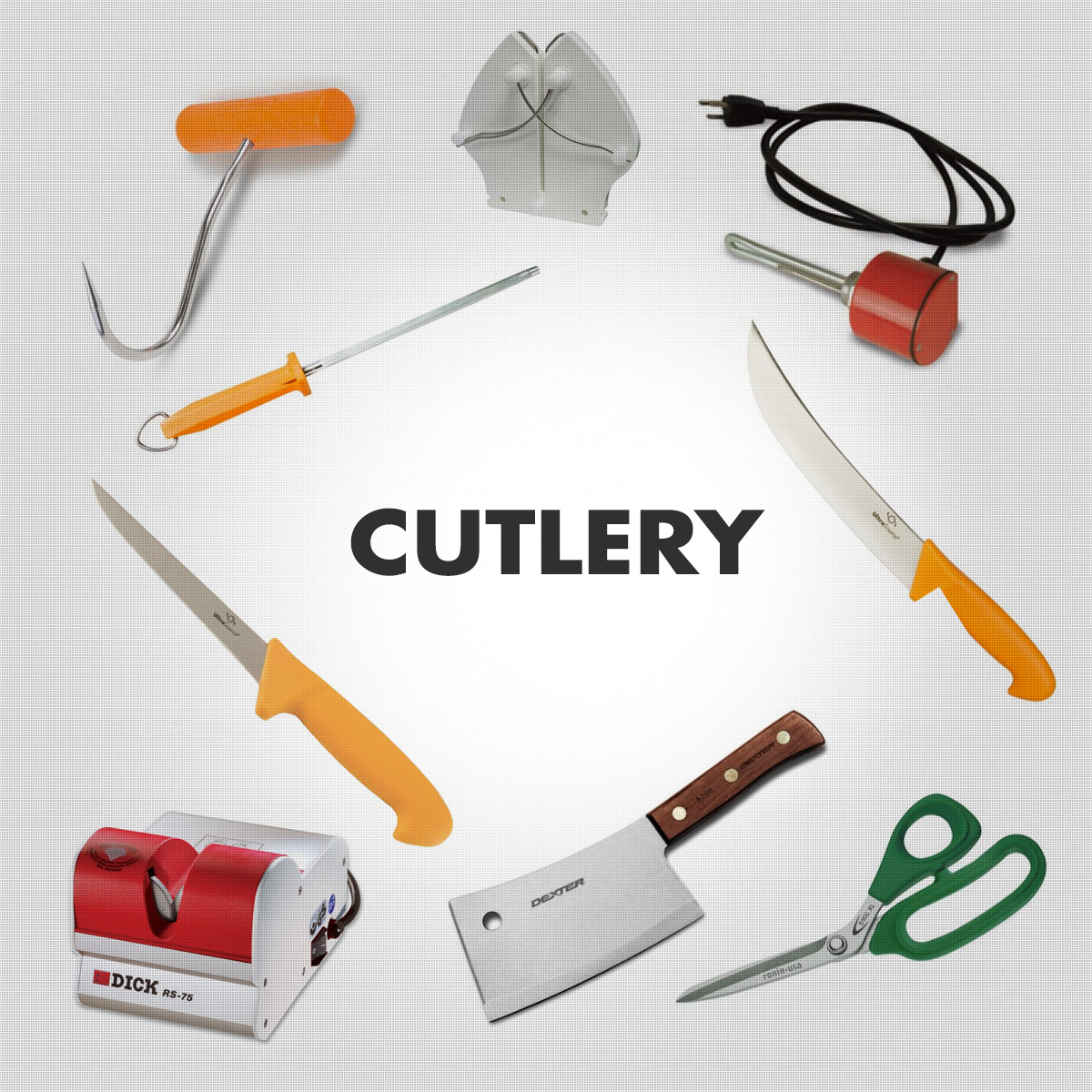 Cutlery - Meat Hooks, Boning, Breaking & Butcher Knives and Sharpeners