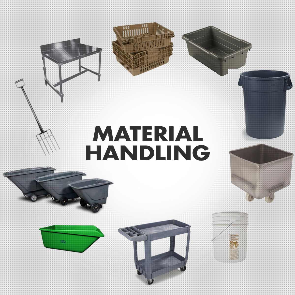 Material Handling - Commercial Totes, Trays, Carts, Buggies, Tables