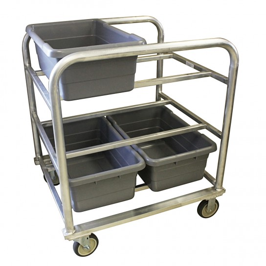 502013 Heavy Duty Aluminum Tote Cart with Heavy Duty Plate Casters and 6-Tote Capacity