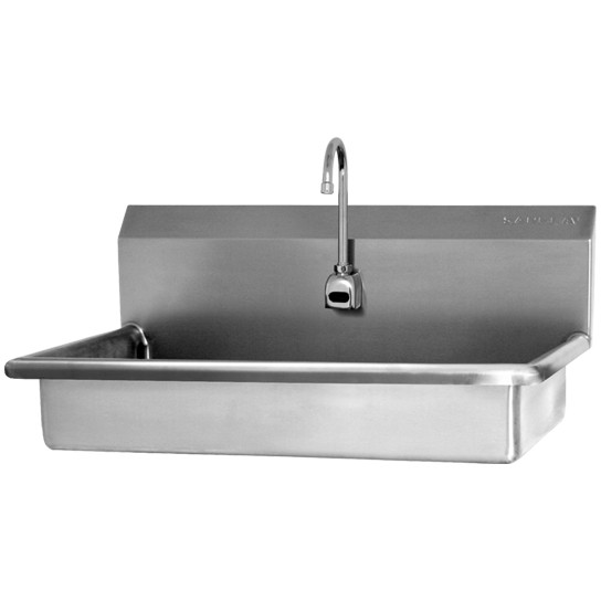 "SINK, WIDE, WALL MOUNT, HANDS-FREE SENSOR, AC POWERED - 5"" DEEP"