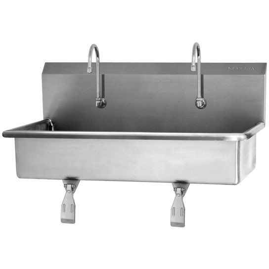 SINK, 2-PERSON WALL MOUNT WASH STATION, SINGLE KNEE PEDALS