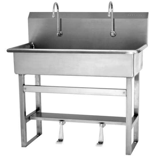 SINK, 2-PERSON FLOOR MOUNT WASH STATION, SINGLE FOOT PEDALS