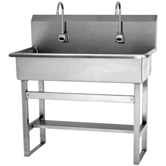 SINK, 2-PERSON FLOOR MNT HANDS-FREE AC