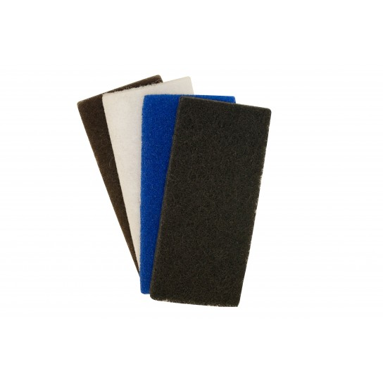 Utility Pads 501544-PK (White Light Duty), 501545-PK (Blue Medium Duty), 501546-PK (Brown Heavy Duty), 501547-PK (Black Heavy Duty)