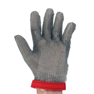 Metal Mesh Glove with Wrist Length Cuff and Sewn in Strap