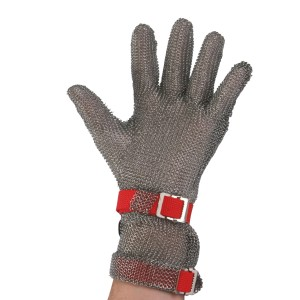 Metal Mesh Glove with Extended Length Cuff and Two Replaceable Straps