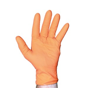 Hi Vis Orange Nitrile Gloves
