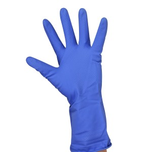 Flock Lined Latex Gloves - Blue - 16 Mil