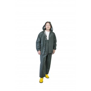Heavy Duty Rain Suit in Green or Yellow (Jacket with Hood and Bib Overalls Sold Individually)