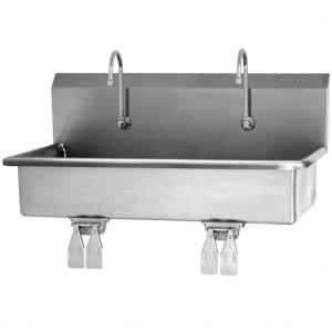SINK, 2-PERSON WALL MOUNT WASH STATION, DOUBLE KNEE PEDALS
