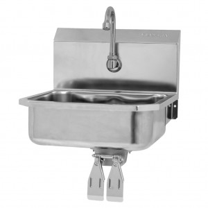"""SINK, WALL HUNG, DOUBLE KNEE PEDAL VALVE - 5"""" DEEP"""