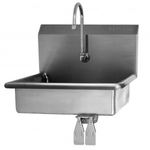 """SINK, WALL MOUNT, DOUBLE KNEE PEDAL VALVE - 5"""" DEEP"""