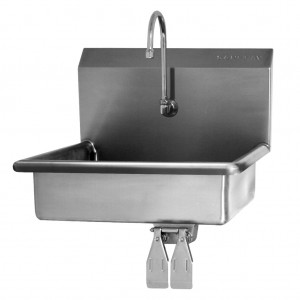 """SINK, WALL HUNG, DOUBLE KNEE PEDAL VALVE - 6"""" DEEP"""