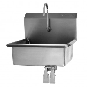"""SINK, WALL MOUNT, DOUBLE KNEE PEDAL VALVE - 9"""" DEEP"""