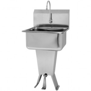 "PEDESTAL-FLOOR MOUNT SINK, SINGLE FOOT PEDAL VALVE - 10"" DEEP"