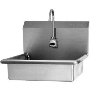 "SINK, WALL MOUNT, HANDS-FREE SENSOR, AC POWERED - 6"" DEEP"