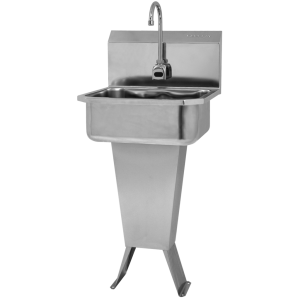 "SINK, PEDESTAL-FLOOR MOUNT, HANDS-FREE SENSOR, BATTERY POWERED - 7"" DEEP"