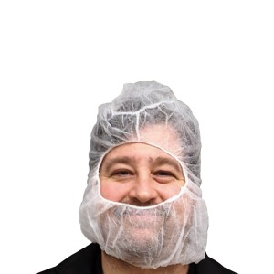 Spunbound Polypropylene Hoods - Complete Hair and Beard Guard - White