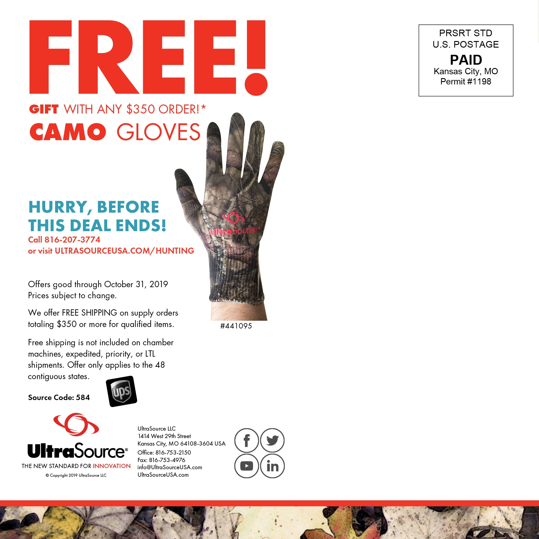 Free Camo Gloves with $350 Purchase
