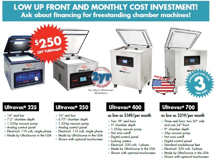 UltraSource Ultravac Tabletops and Freestanding Single Chamber Vacuum Packaging Machines